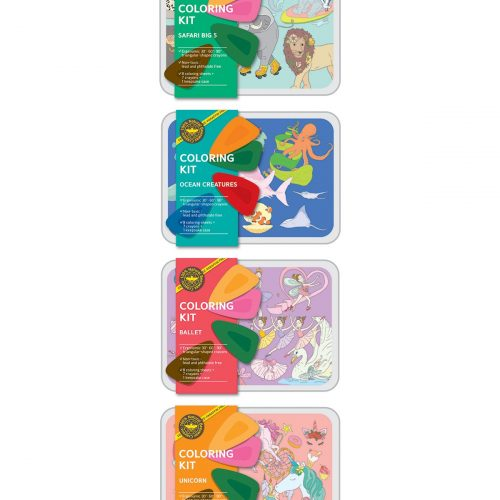 Coloring Kit Set SAFARI + OCEAN + BALLERINA + UNICORN