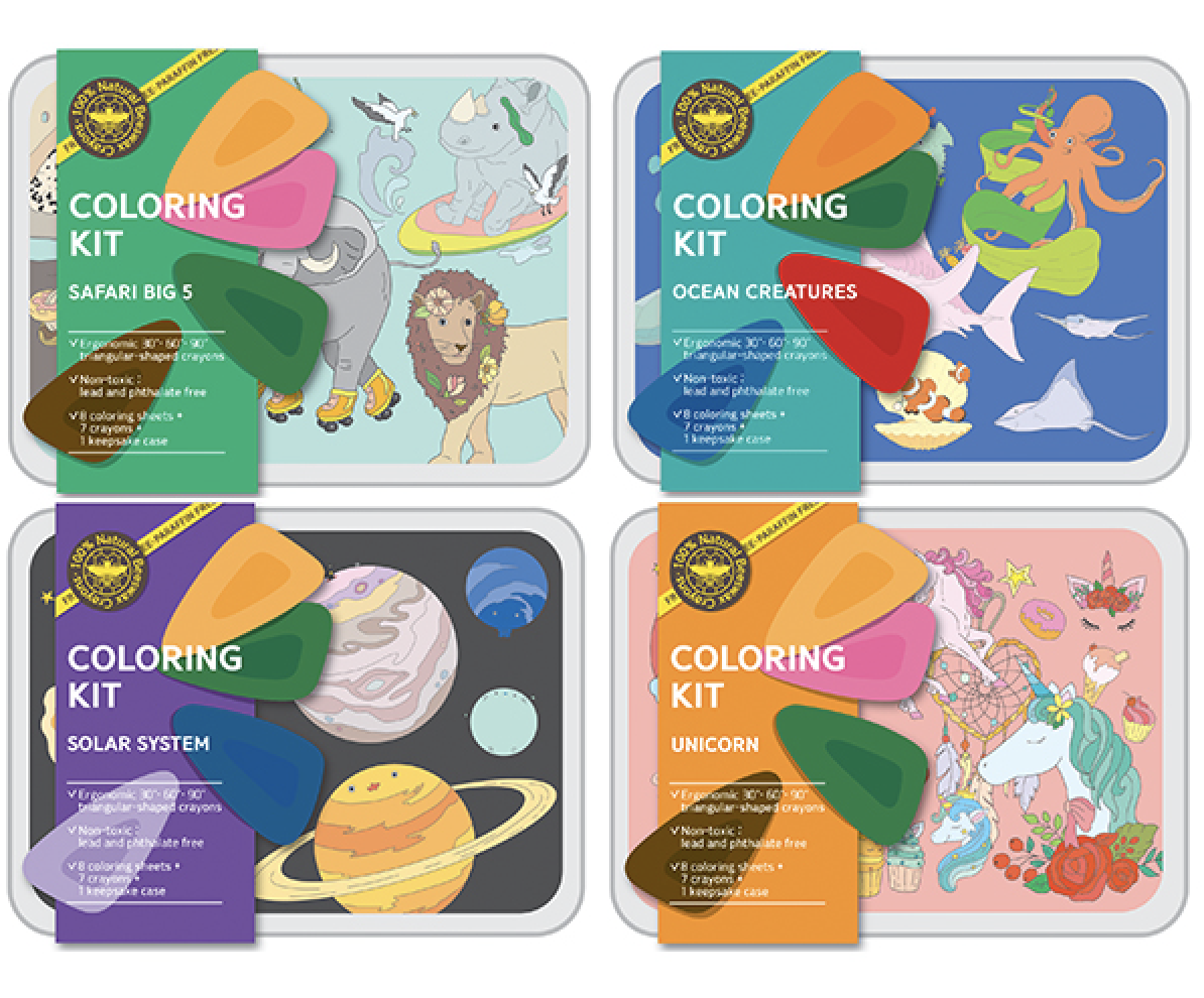 Coloring Kit Set - SAFARI + OCEAN + Solar System + UNICORN Small
