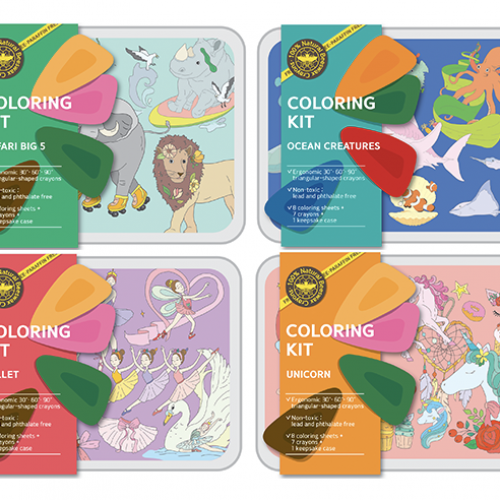 Coloring Kit Set - SAFARI + OCEAN + BALLERINA + Ocean Small